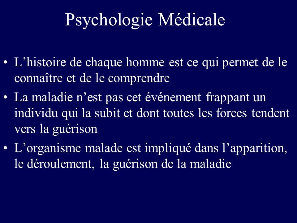 Psychologie Médicale L'histoire de chaque homme est ce qui permet de le connaître et de le comprendre.
