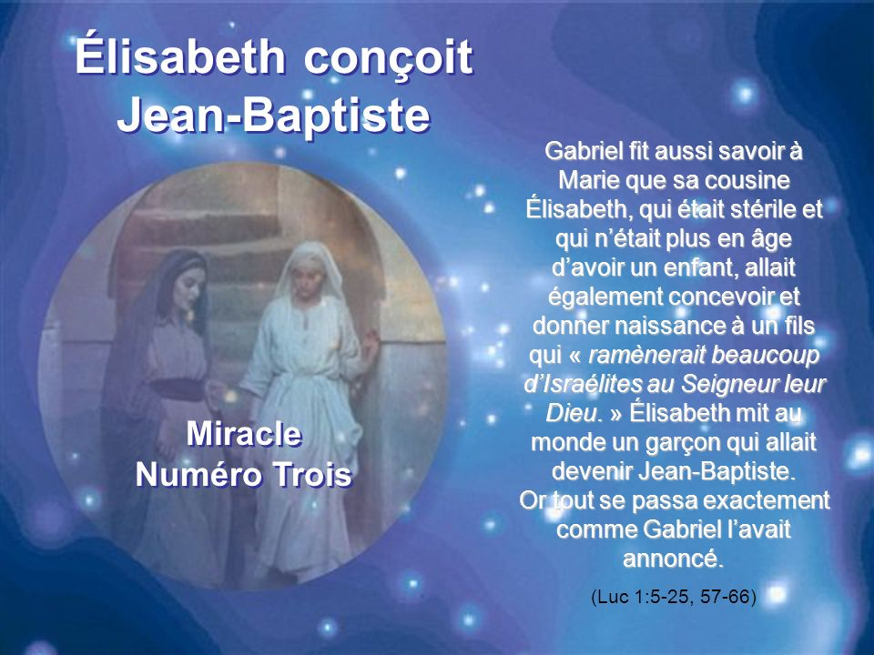 Élisabeth conçoit Jean-Baptiste