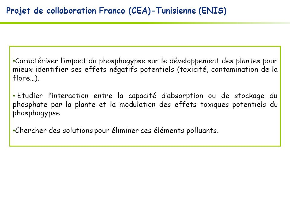 Projet de collaboration Franco (CEA)-Tunisienne (ENIS)