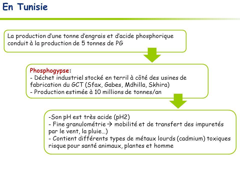 En Tunisie La production d'une tonne d'engrais et d'acide phosphorique conduit à la production de 5 tonnes de PG.