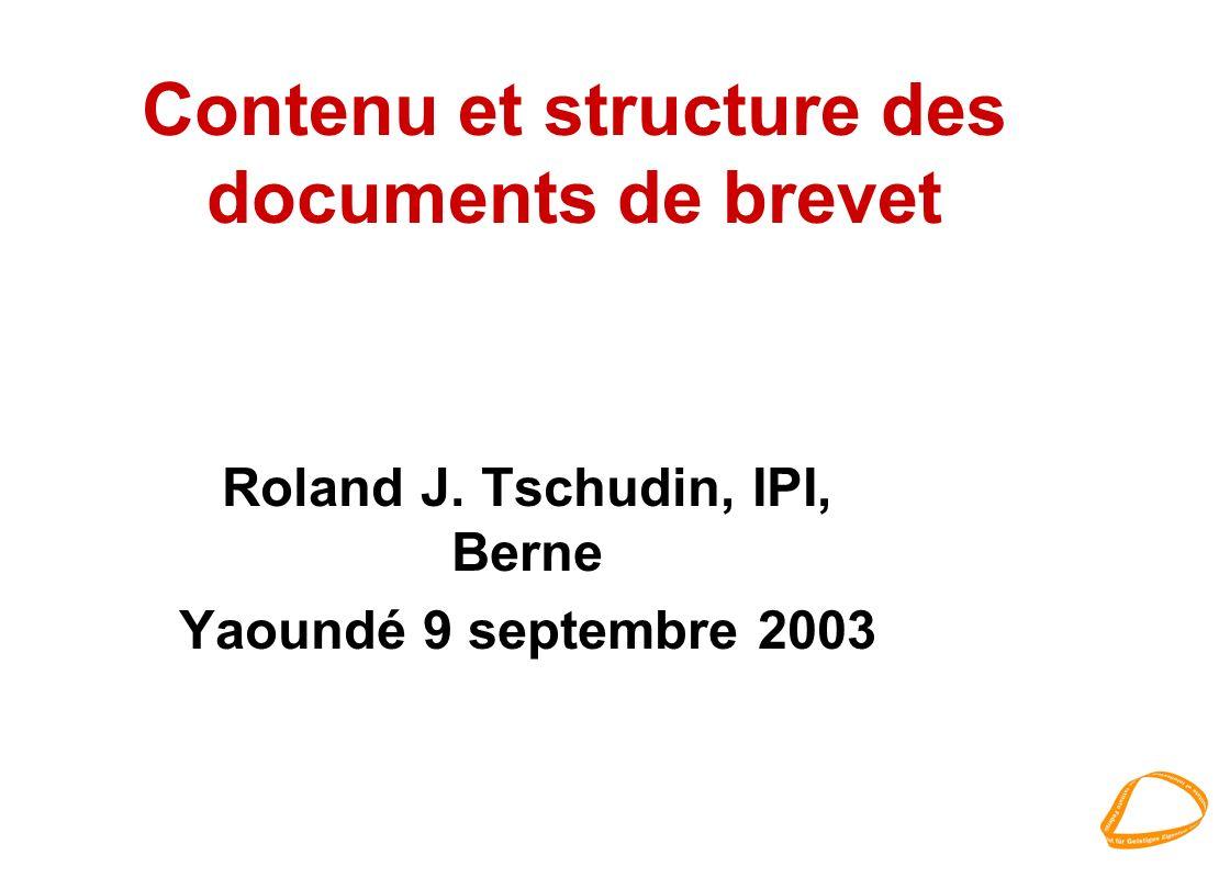 Contenu et structure des documents de brevet