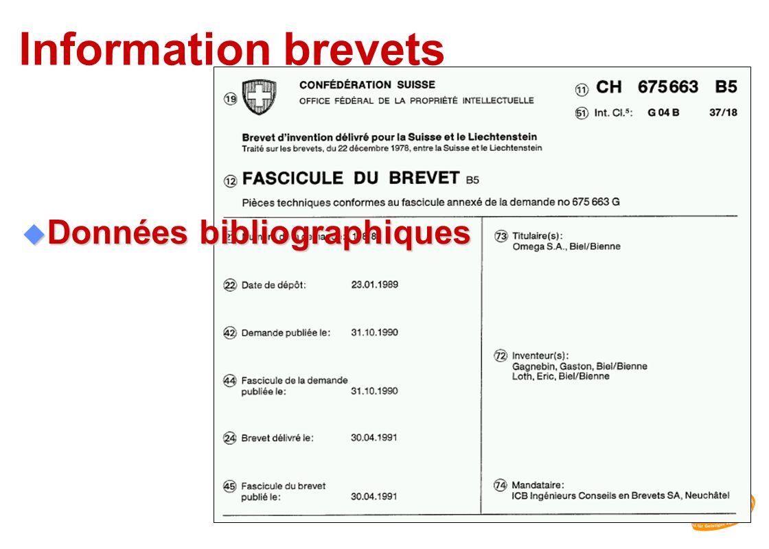 OAPI Information brevets Données bibliographiques IPI
