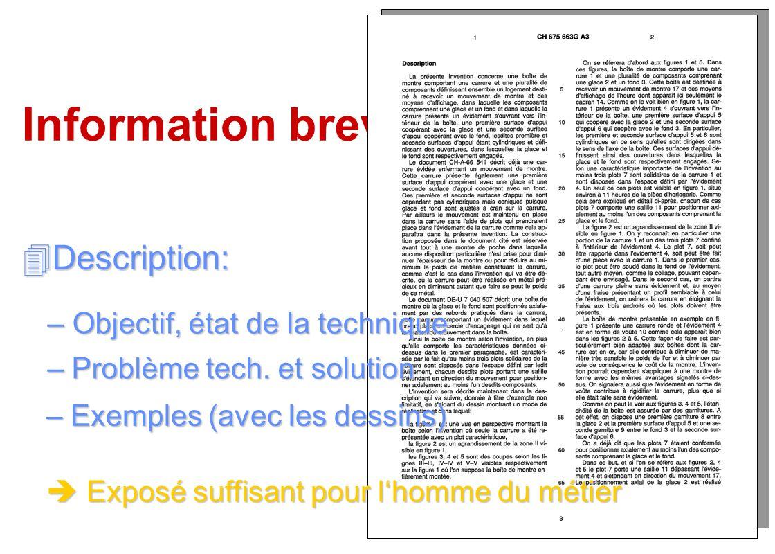 Information brevets Description: Objectif, état de la technique