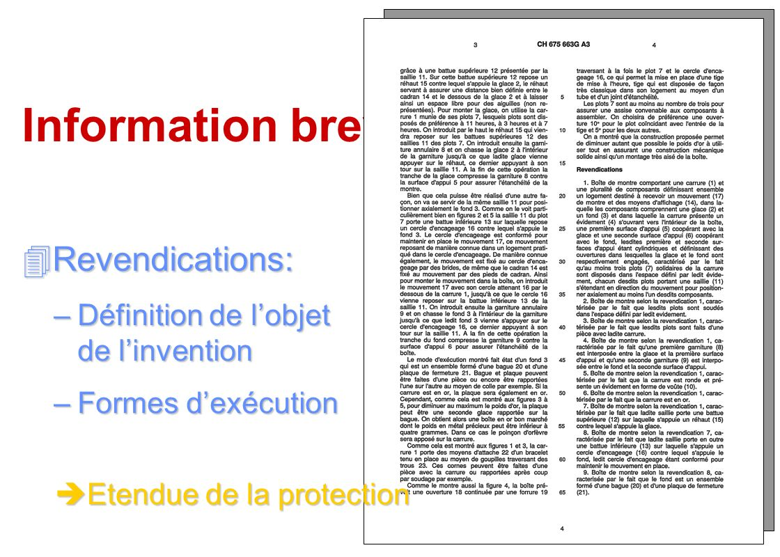 Information brevets Revendications:
