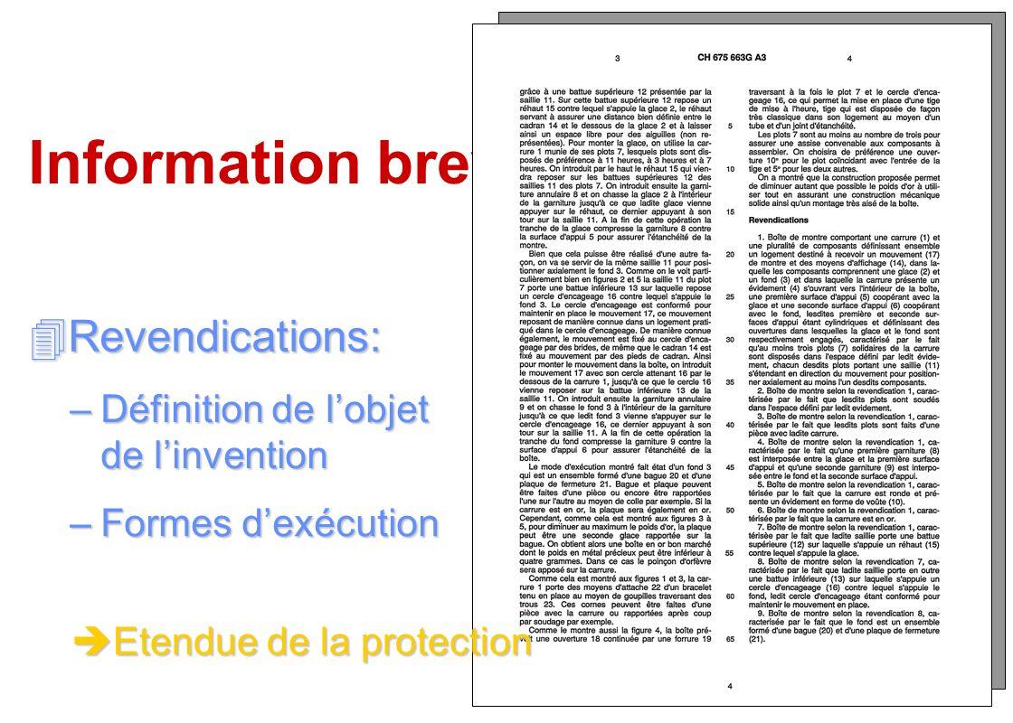 Information brevets Revendications:
