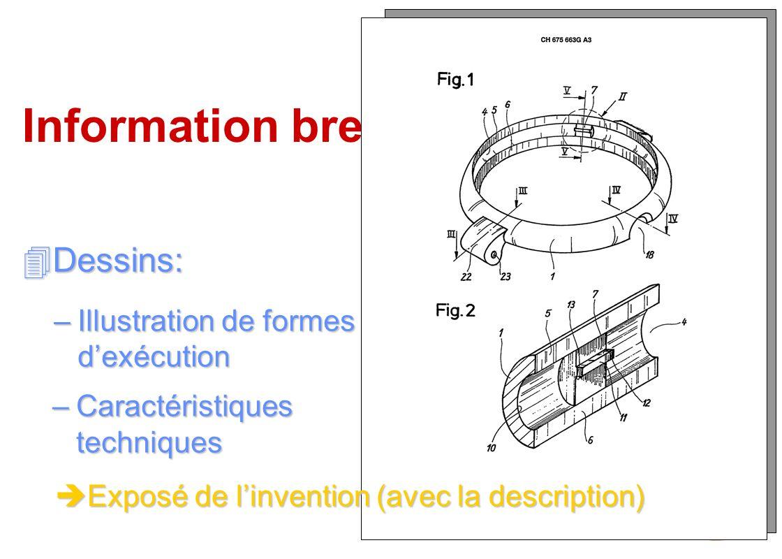 Information brevets Dessins: Illustration de formes d'exécution