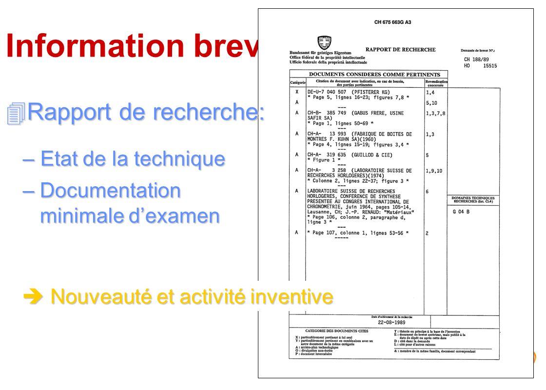 Information brevets Rapport de recherche: Etat de la technique