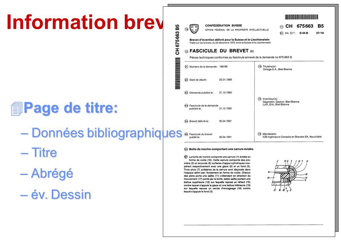 Information brevets Page de titre: Données bibliographiques Titre