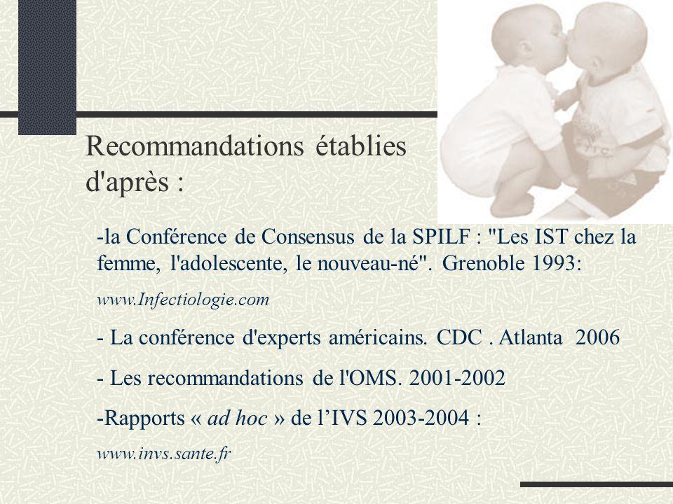 Recommandations établies d après :