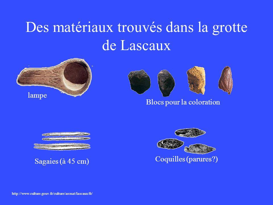 Des matériaux trouvés dans la grotte de Lascaux