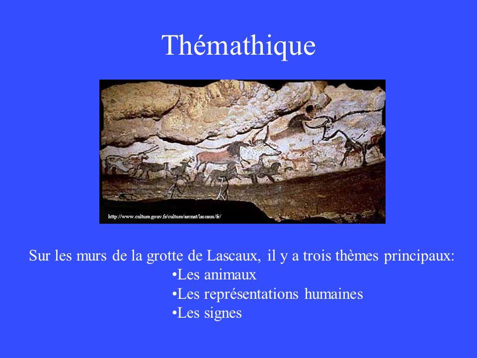 Thémathique http://www.culture.gouv.fr/culture/arcnat/lascaux/fr/ Montrez et nommez ou faites nommer les animaux sur ce mur:
