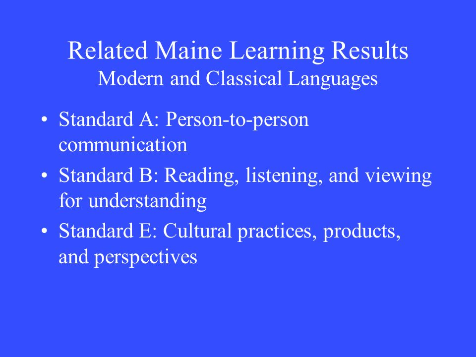 Related Maine Learning Results Modern and Classical Languages
