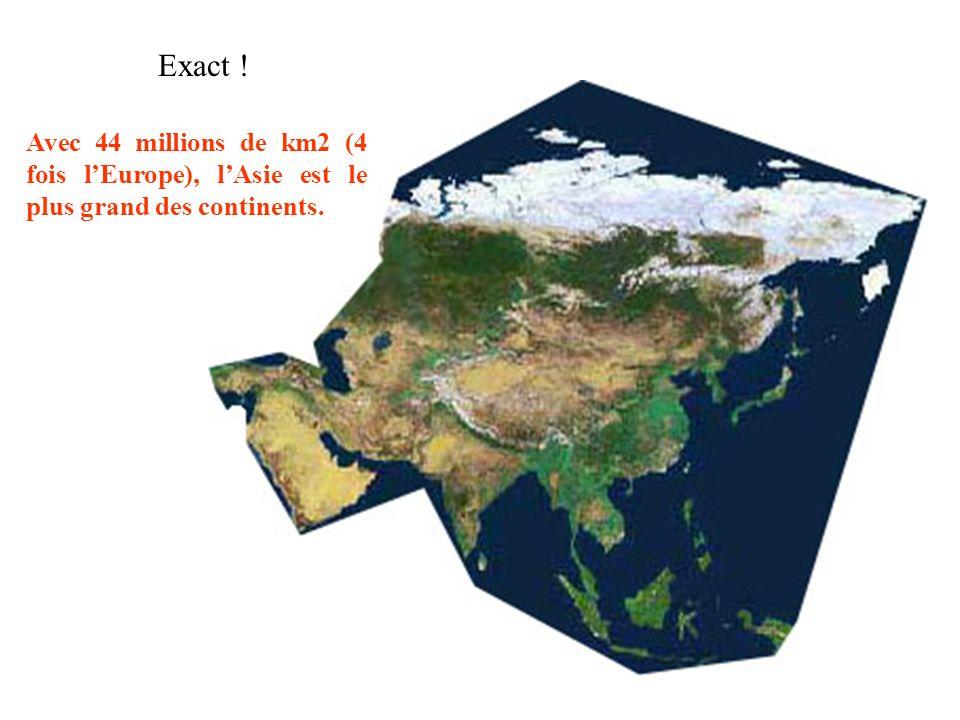Exact ! Avec 44 millions de km2 (4 fois l'Europe), l'Asie est le plus grand des continents.