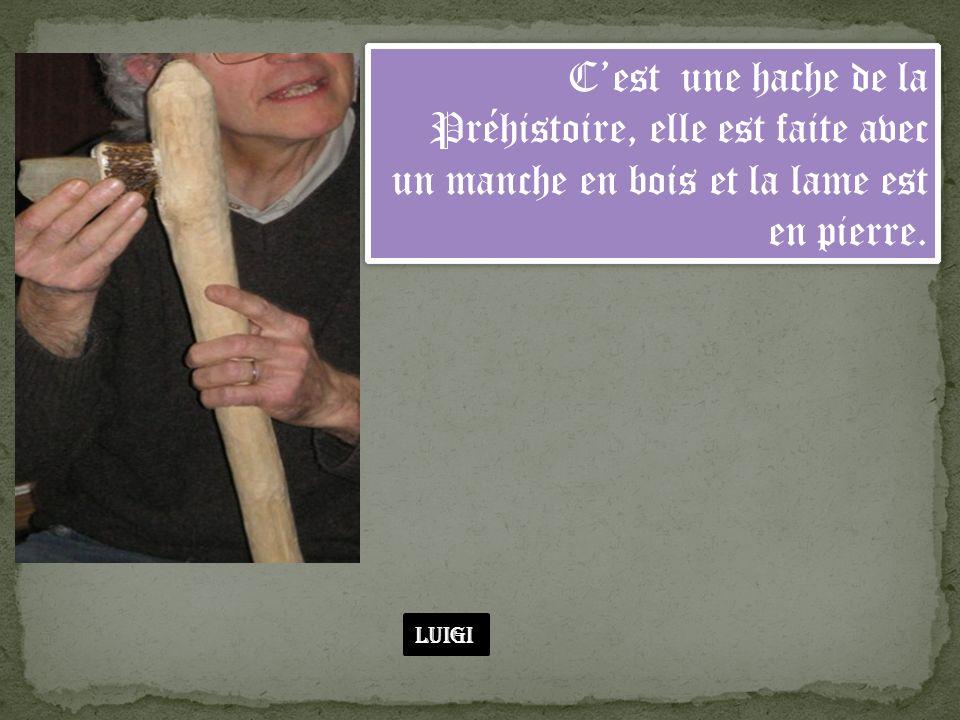 C'est une hache de la Préhistoire, elle est faite avec un manche en bois et la lame est en pierre.