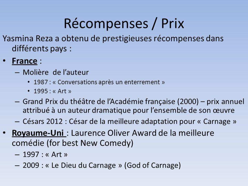 Récompenses / Prix Yasmina Reza a obtenu de prestigieuses récompenses dans différents pays : France :