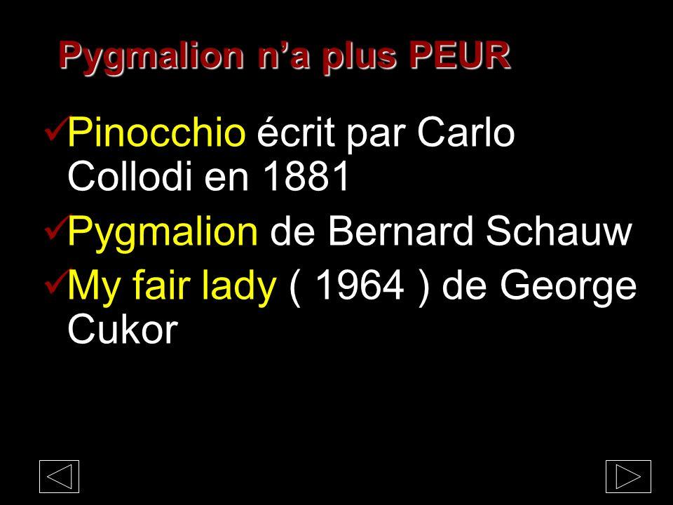 Pinocchio écrit par Carlo Collodi en 1881 Pygmalion de Bernard Schauw