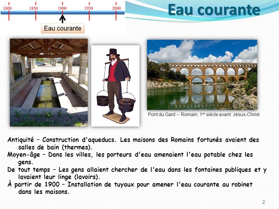 Eau courante Pont du Gard – Romain, 1er siècle avant Jésus-Christ.