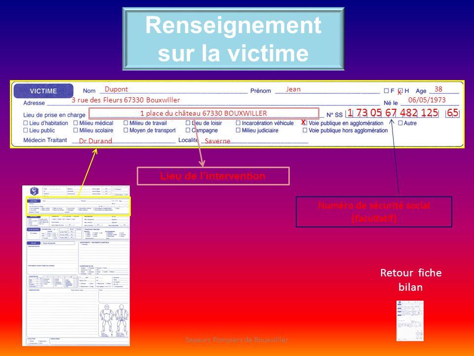 Renseignement sur la victime