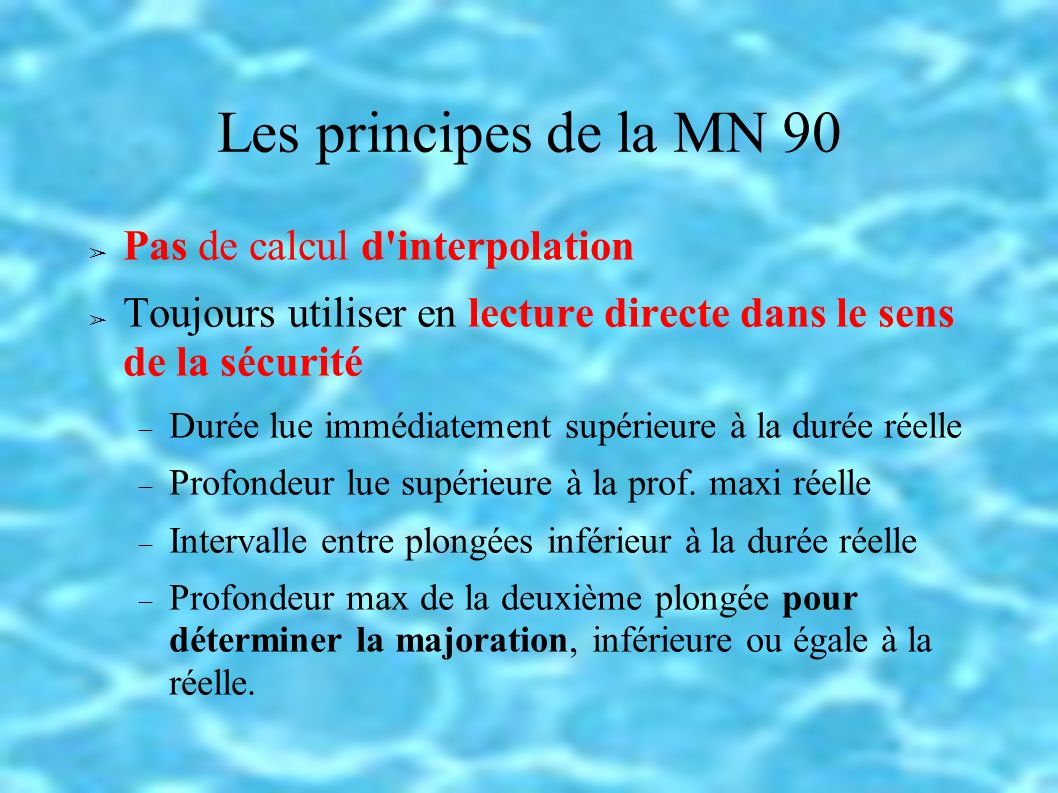 Les principes de la MN 90 Pas de calcul d interpolation
