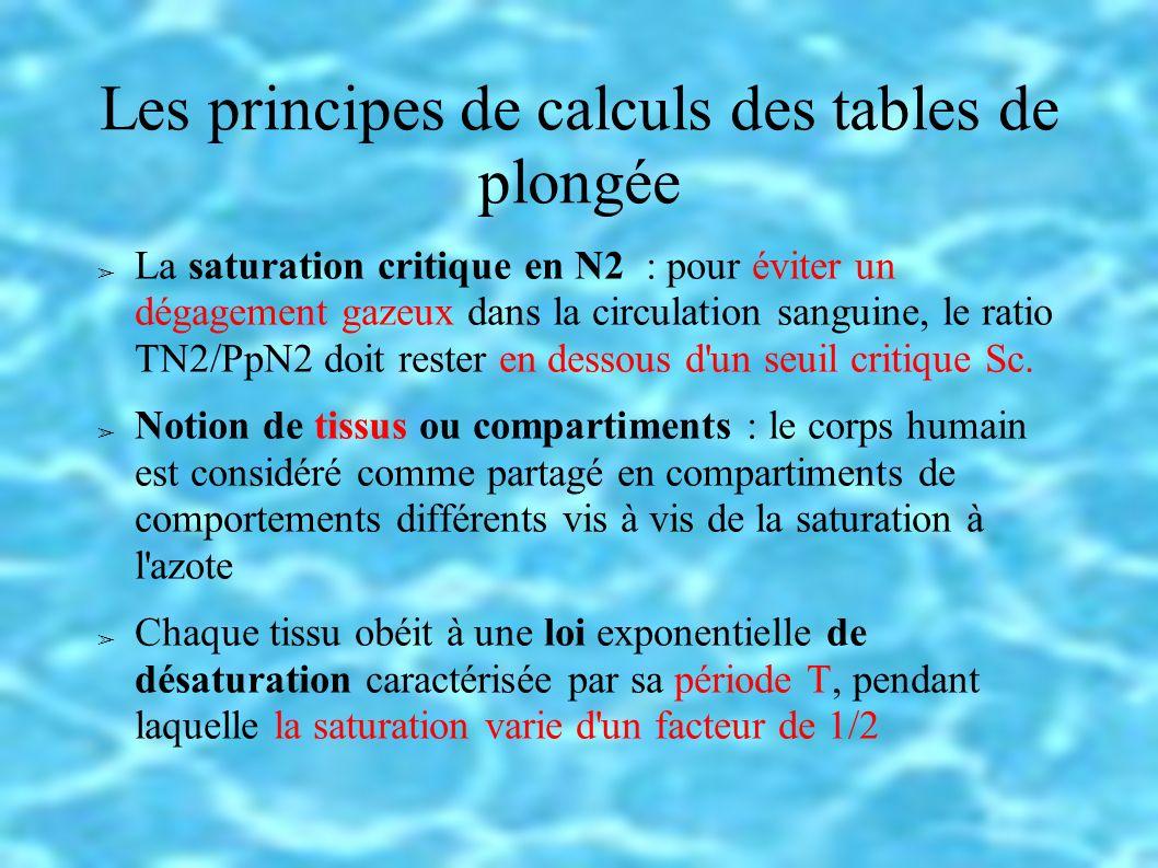 Les principes de calculs des tables de plongée