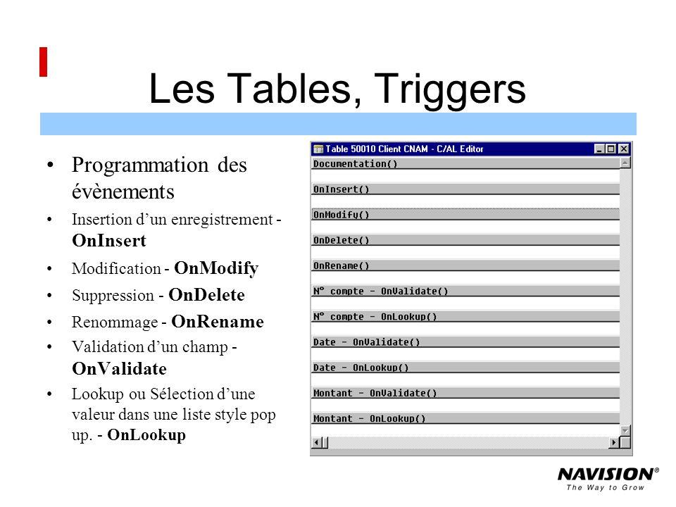 Les Tables, Triggers Programmation des évènements