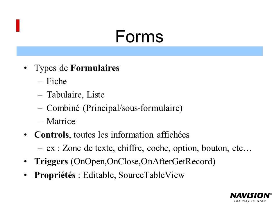 Forms Types de Formulaires Fiche Tabulaire, Liste