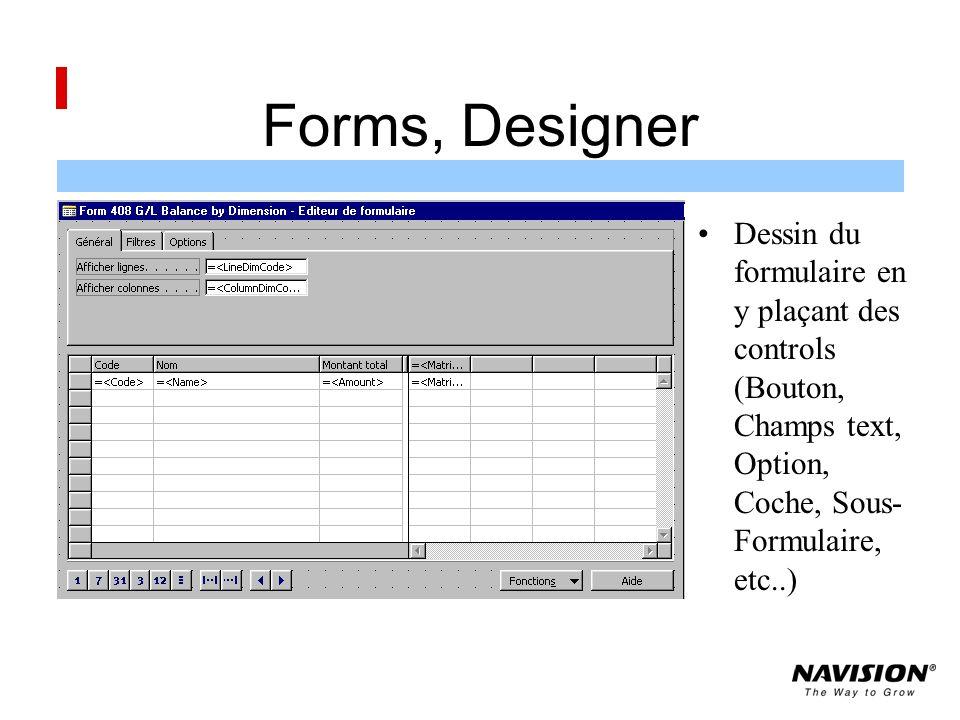 Forms, Designer Dessin du formulaire en y plaçant des controls (Bouton, Champs text, Option, Coche, Sous-Formulaire, etc..)