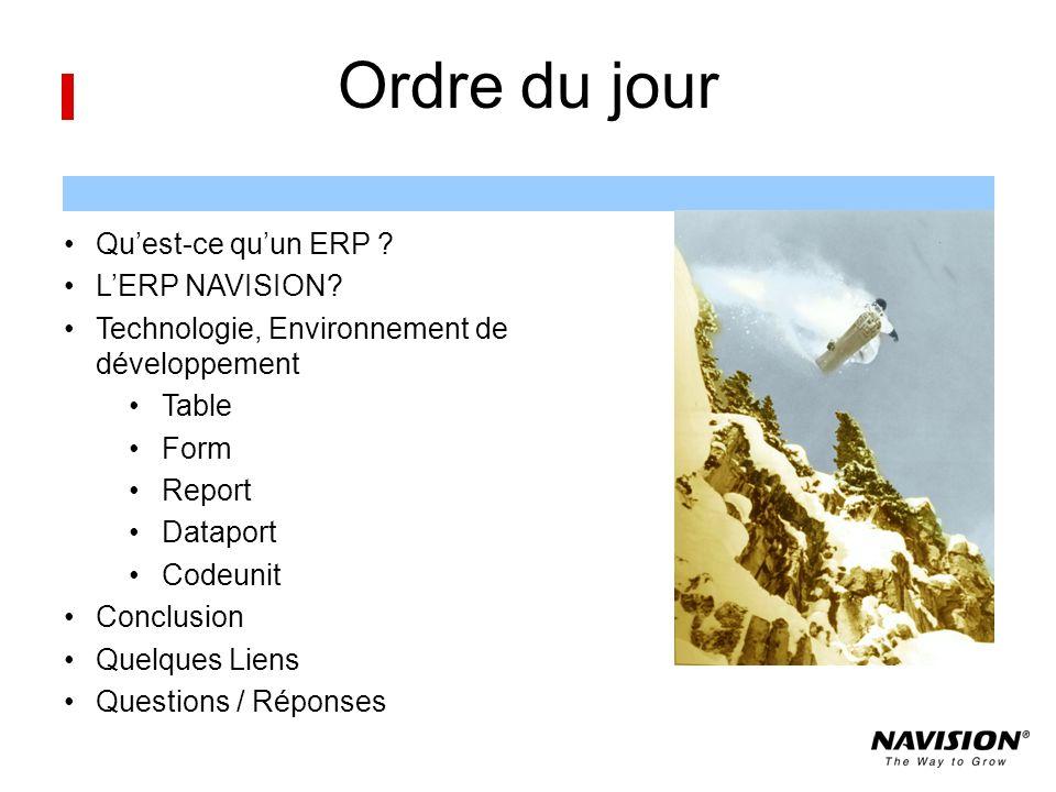 Ordre du jour Qu'est-ce qu'un ERP L'ERP NAVISION