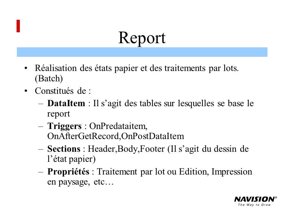 Report Réalisation des états papier et des traitements par lots. (Batch) Constitués de :