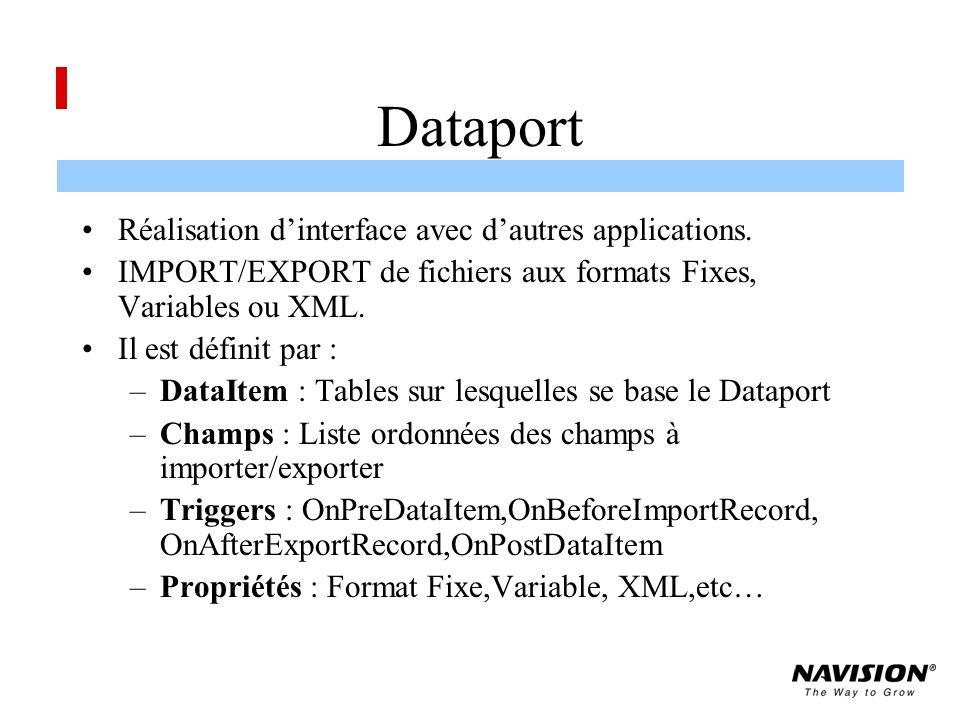 Dataport Réalisation d'interface avec d'autres applications.