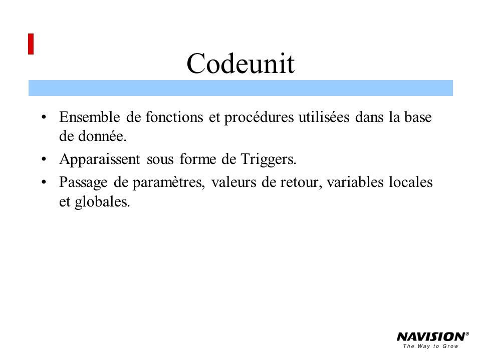 Codeunit Ensemble de fonctions et procédures utilisées dans la base de donnée. Apparaissent sous forme de Triggers.