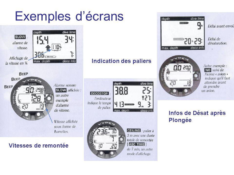 Exemples d'écrans Indication des paliers Infos de Désat après Plongée