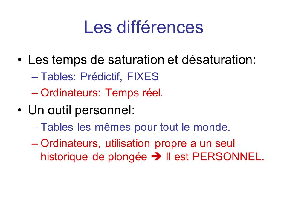 Les différences Les temps de saturation et désaturation: