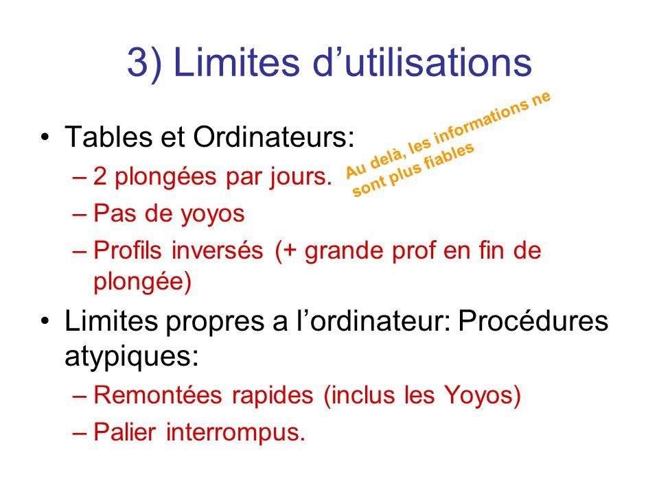 3) Limites d'utilisations