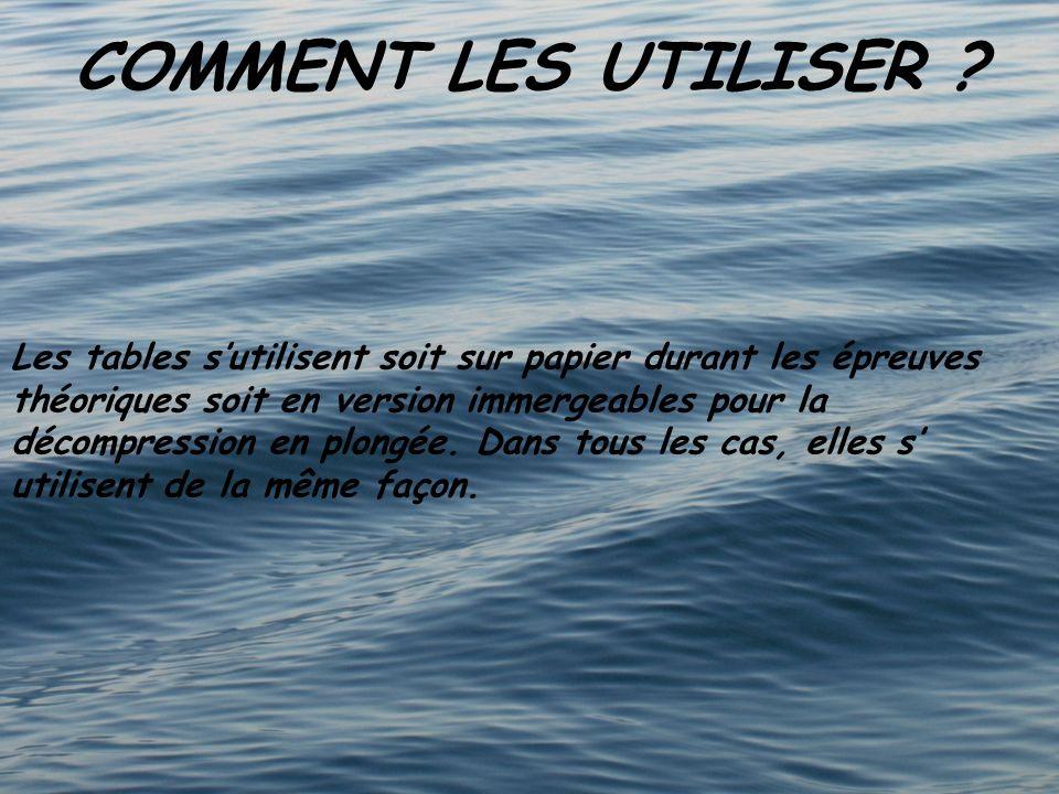 COMMENT LES UTILISER