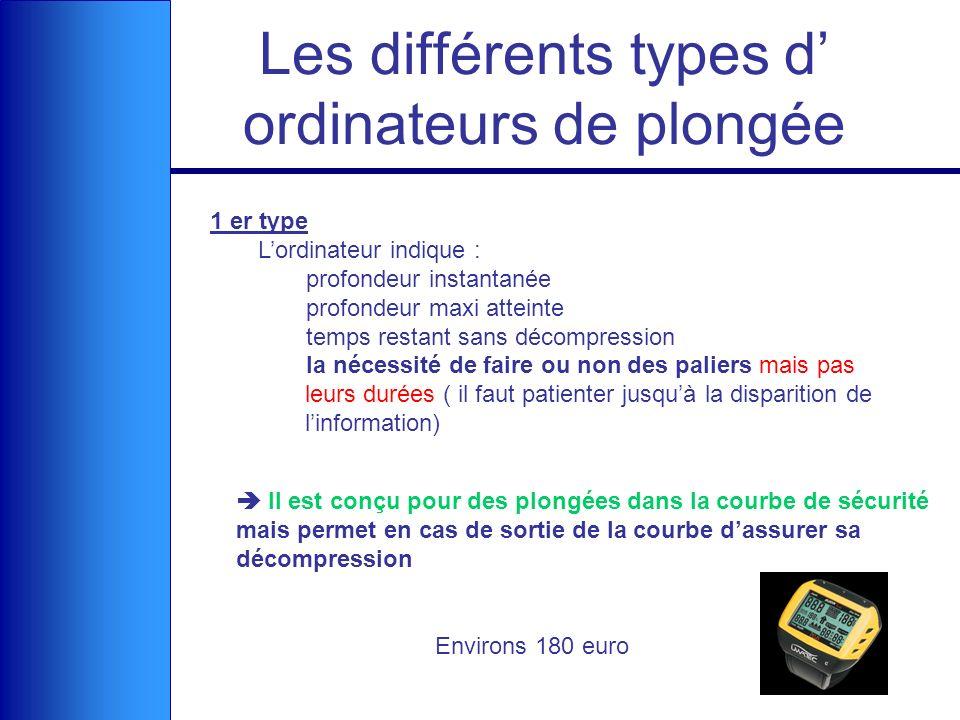 Les différents types d' ordinateurs de plongée