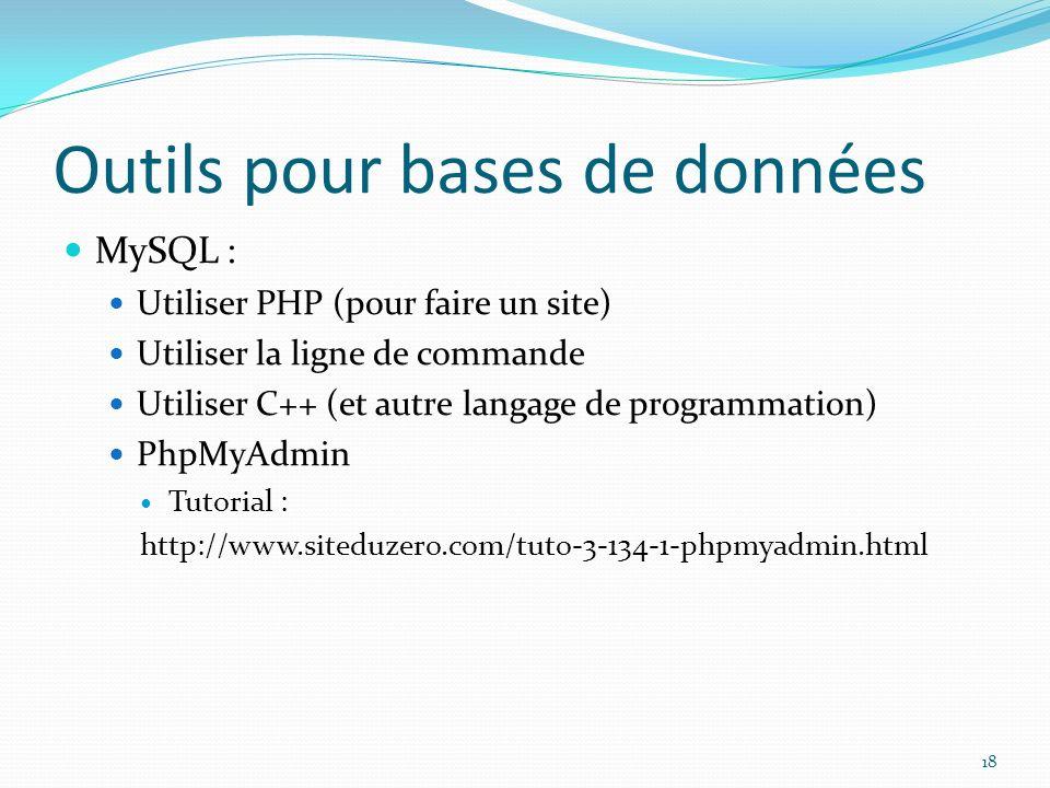 Outils pour bases de données