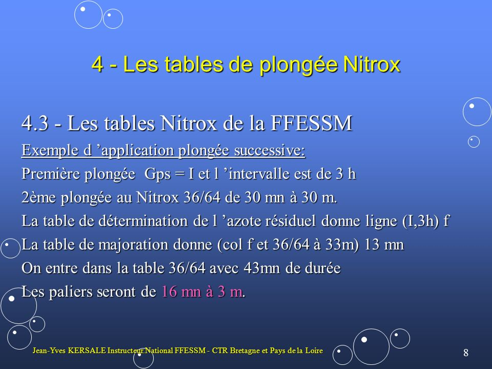 4 - Les tables de plongée Nitrox