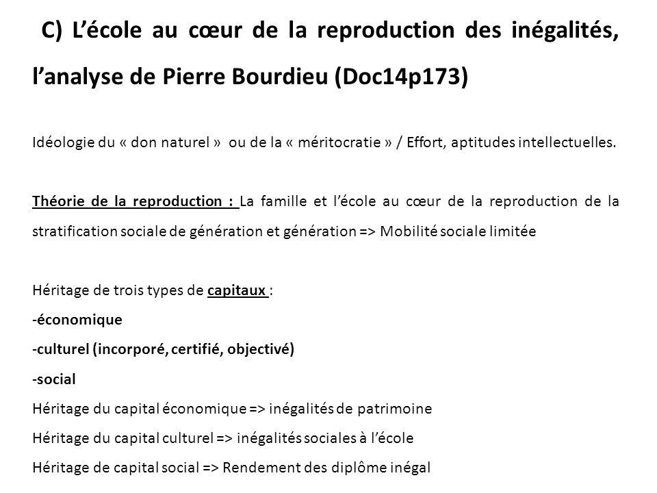 C) L'école au cœur de la reproduction des inégalités, l'analyse de Pierre Bourdieu (Doc14p173)