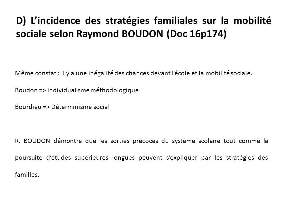 D) L'incidence des stratégies familiales sur la mobilité sociale selon Raymond BOUDON (Doc 16p174)