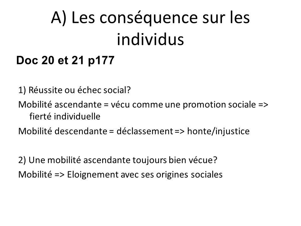 A) Les conséquence sur les individus