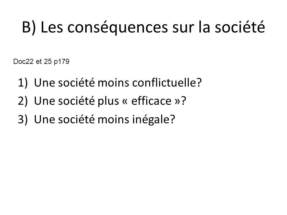 B) Les conséquences sur la société