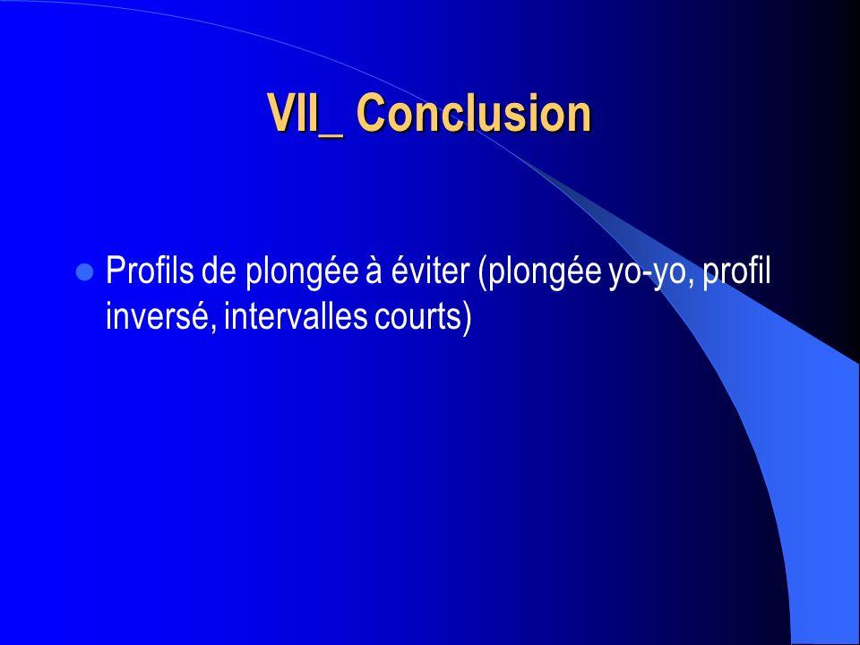 VII_ Conclusion Profils de plongée à éviter (plongée yo-yo, profil inversé, intervalles courts)