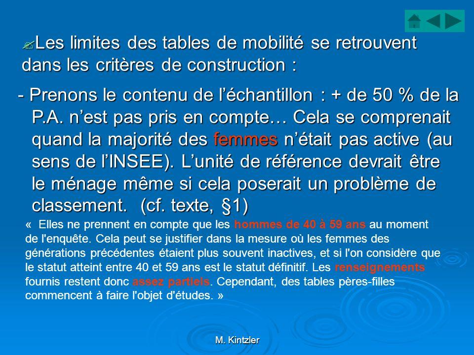 Les limites des tables de mobilité se retrouvent dans les critères de construction :