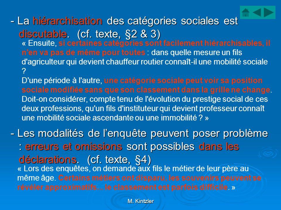 - La hiérarchisation des catégories sociales est discutable. (cf