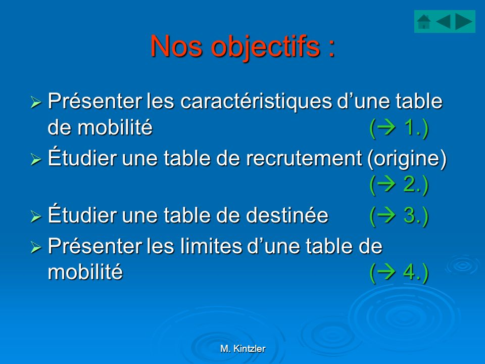 Nos objectifs : Présenter les caractéristiques d'une table de mobilité ( 1.) Étudier une table de recrutement (origine) ( 2.)