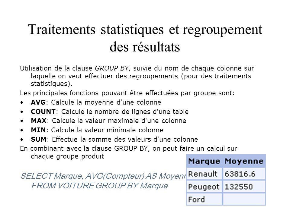 Traitements statistiques et regroupement des résultats