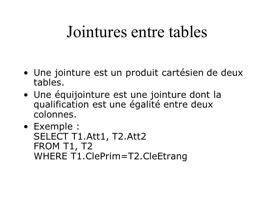 Jointures entre tables