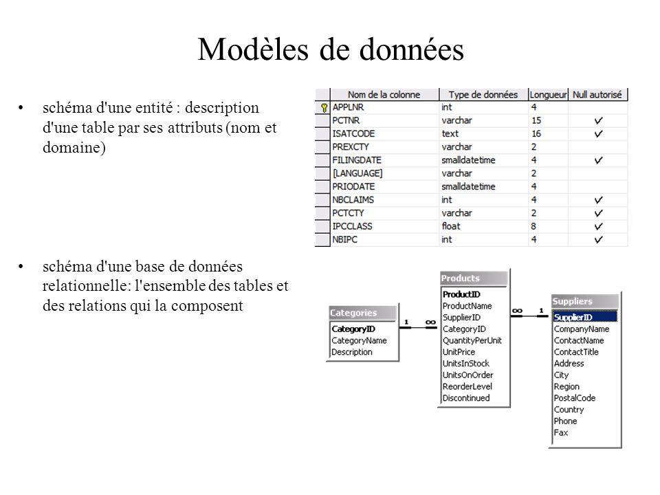 Modèles de données schéma d une entité : description d une table par ses attributs (nom et domaine)