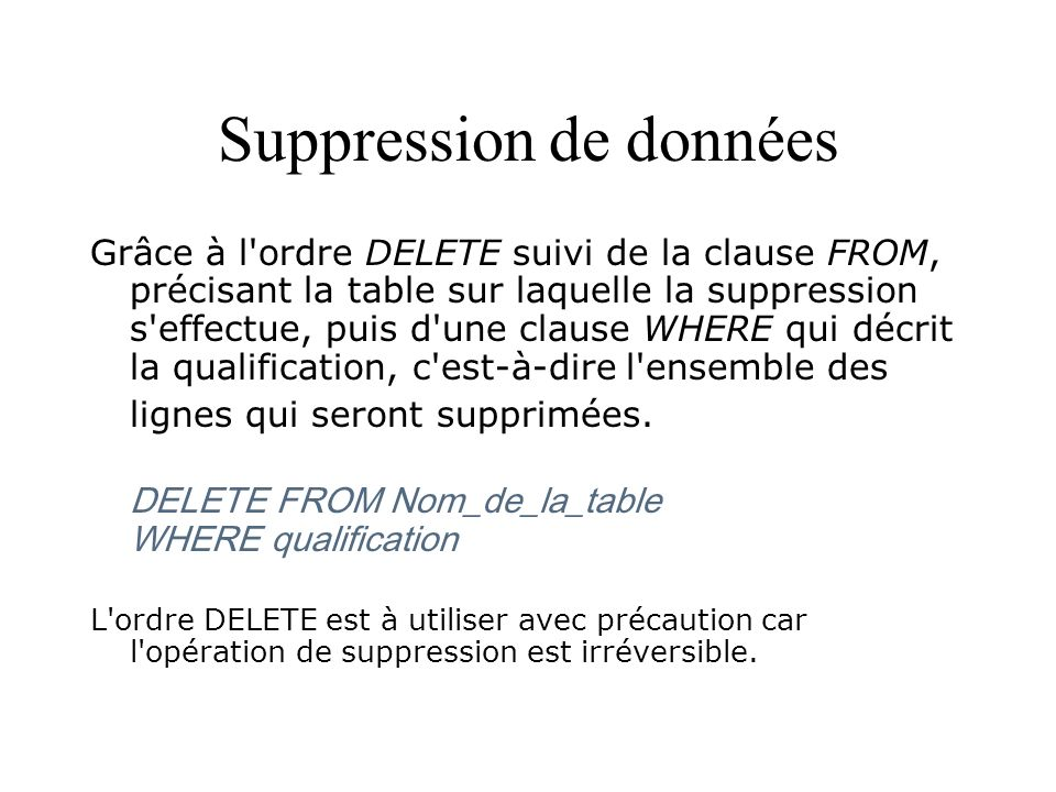 Suppression de données